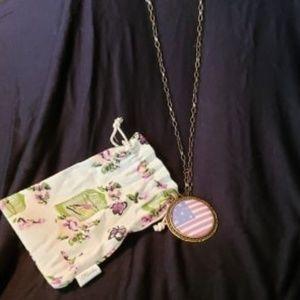 Plunder Antique Gold finish Atlas flag Necklace